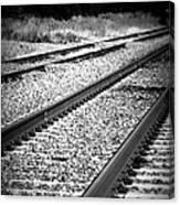 Black And White Railroad Tracks Canvas Print