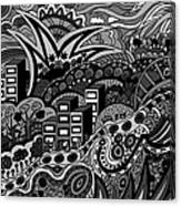 Black And White Seaside Canvas Print