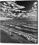 Black And White Shoreline Of Lake Canvas Print