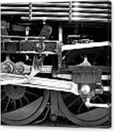 Black And White Steam Engine - Greeting Card Canvas Print