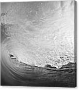 Black And White Wave Breaking On Makena Shore Canvas Print