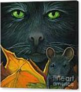Black Cat And Mouse Canvas Print