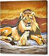 Black Maned Lion And Cub Canvas Print