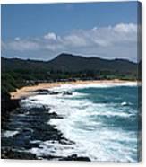 Black Rocks On The Beach Canvas Print