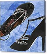 Black Satin And Crystal Dragonfly Pumps Canvas Print