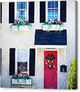 Black Window Shutters With Flowers Canvas Print