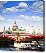 Blackfriars Bridge And St. Paul's Cathedral In London Canvas Print