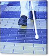 Blind Man On A Crossing Canvas Print