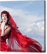 Blown Away Woman In Red Series Canvas Print