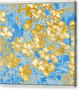 Blue And Gold Floral Abstract Canvas Print