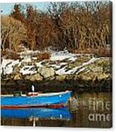 Blue And Red Boat Canvas Print