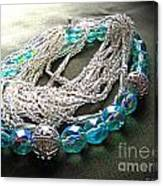 Blue And Silver Bead Bracelet Canvas Print
