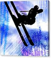 Blue And White Splashes With Ski Jump Canvas Print