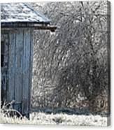 Blue Barn Winter Canvas Print