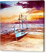 Blue Boat On The Shore Canvas Print
