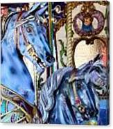 Blue Carousel Merry Go Round Horses Canvas Print