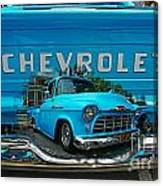 Blue Chevy Pickup Dbl. Exposure Canvas Print