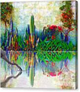 Blue Heron In My Mexican Garden Canvas Print