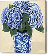 Blue Hydrangeas In A Pot On Parchment Paper Canvas Print