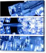 Blue Led Lights In Three Strips Canvas Print