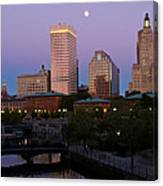 Blue Moon Over Downtown Providence 2 Canvas Print