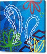 Blue Paisley Garden Canvas Print