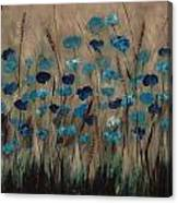 Blue Poppies And Gold Wheat Canvas Print