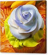 Blue Rose Cup Cake Canvas Print