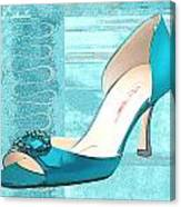 Blue Satin Ball Gown Pump Canvas Print