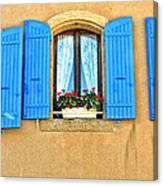 Blue Shutters In Provence Canvas Print
