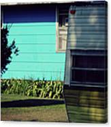 Blue Siding And Camper Canvas Print