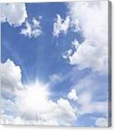 Blue Sky And Sun Ray Canvas Print