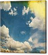 Blue Sky On Old Grunge Paper Canvas Print
