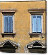 Blue Windows On A Yellow Wall In Milan Canvas Print