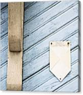 Blue Wooden Door With A Plate Canvas Print
