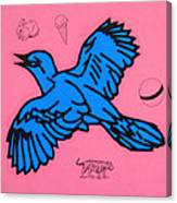 Bluebird On Pink Canvas Print