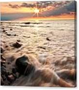 Bluffs Beach Sunset 3 Canvas Print
