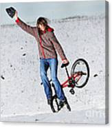 Bmx Flatland In The Snow - Monika Hinz Canvas Print