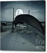 Boat And Moon Canvas Print