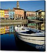 Boat And Village Canvas Print