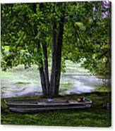Boat By The Pond 2 Canvas Print