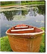 Boat By The Pond Canvas Print