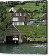 Boat House On A Mountain Slope On The Shore Of Lake Lucerne In Switzerland Canvas Print