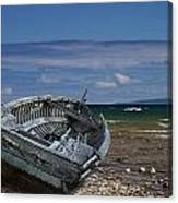 Boat Lying Shipwrecked On A Lake Michigan Shore Canvas Print
