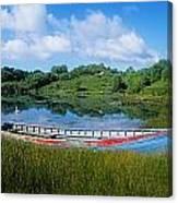 Boat Moored At A Harbor, Ellens Rock Canvas Print