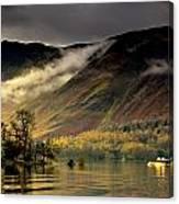 Boat On Lake Derwent, Cumbria, England Canvas Print