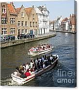 Boat Tours In Brugge Belgium Canvas Print