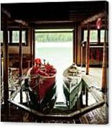 Boathouse At Maligne Lake Canvas Print