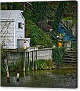 Boathouse Boy Fishing Canvas Print