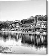 Boathouse Row In Black And White Canvas Print